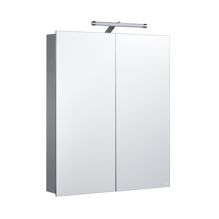 Vogue Deluxe Aluminium Double Cabinet with Mirrored Doors, External LED Light and Internal Shaver Socket (H)700x(W)600x(D)120mm