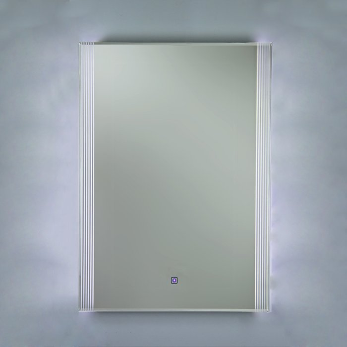 Reflections 6 High Gloss White Framed Mirror, with LED Side Lights, On/Off Sensor Switch and Demister Pad (H) 800x(W)600mm