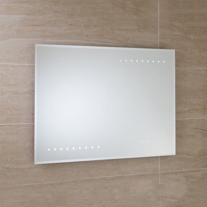 Renoir LED Bevel Edged Mirror with Digital Clock, On/Off Sensor Switch, Shaver Socket & Demister Pad. (H)600x(W)800mm