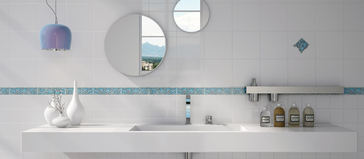 600 Blue and White tiles Modern style Bathroom