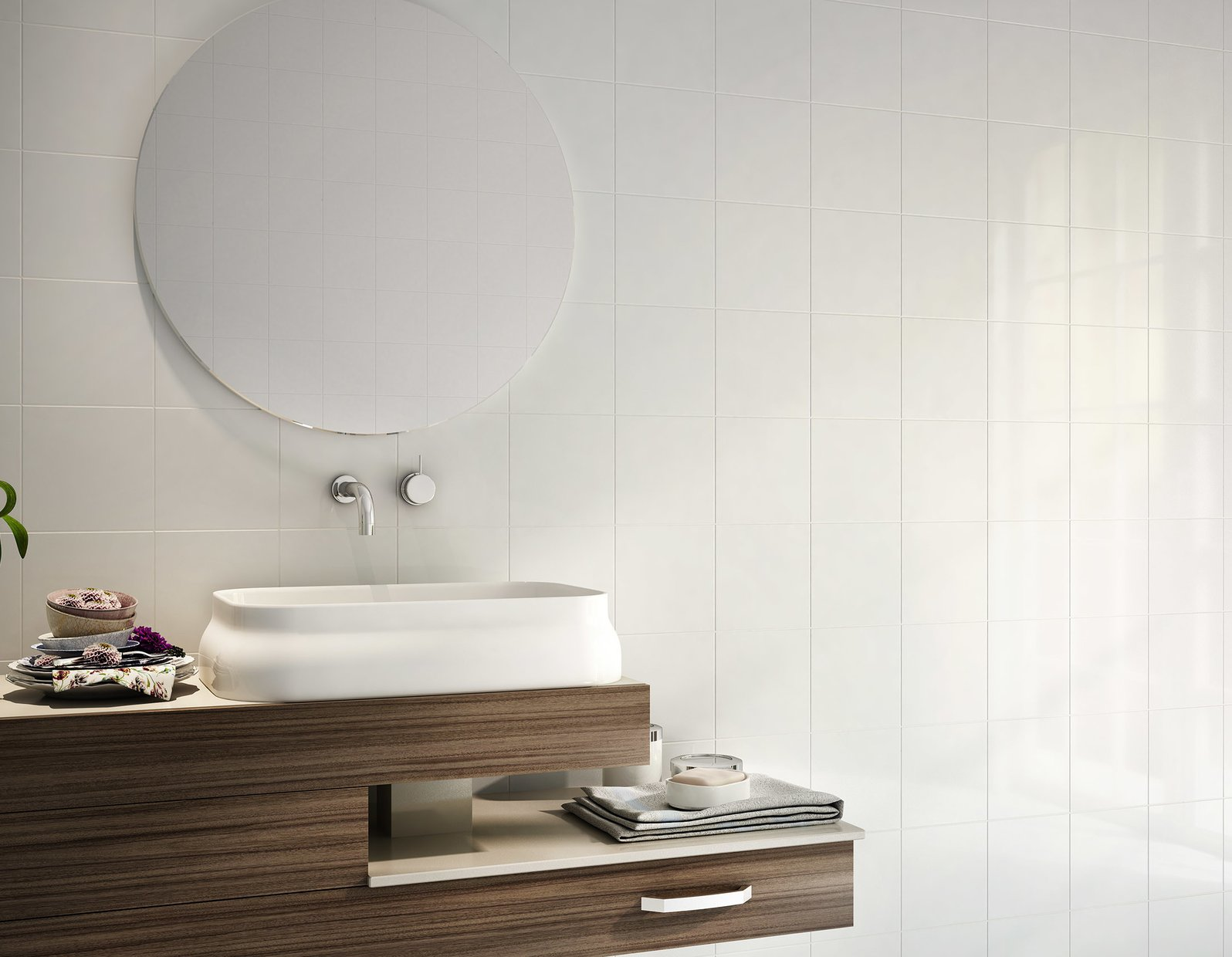 800 White tiles Modern style Bathroom