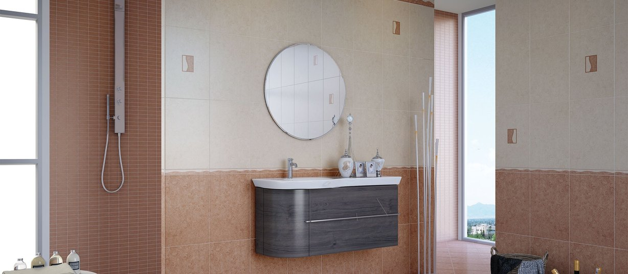 alicante Brown and White tiles Modern style Bathroom