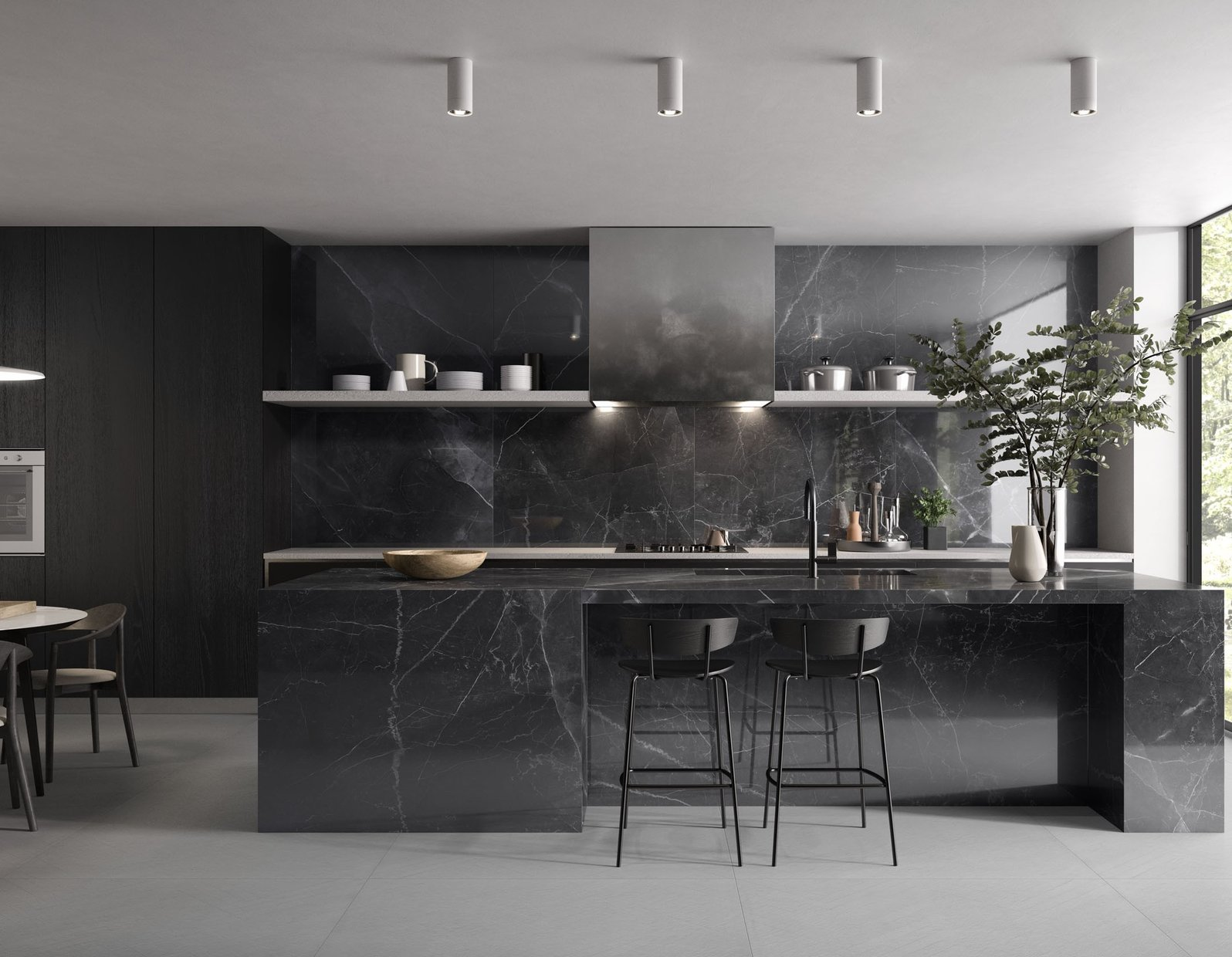 Amani marble Anthracite and Black tiles Modern style Kitchen
