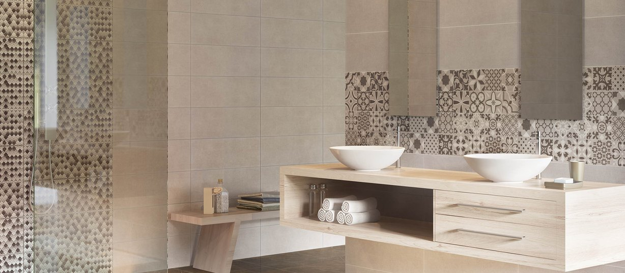 amya Brown and Grey tiles Modern style Bathroom