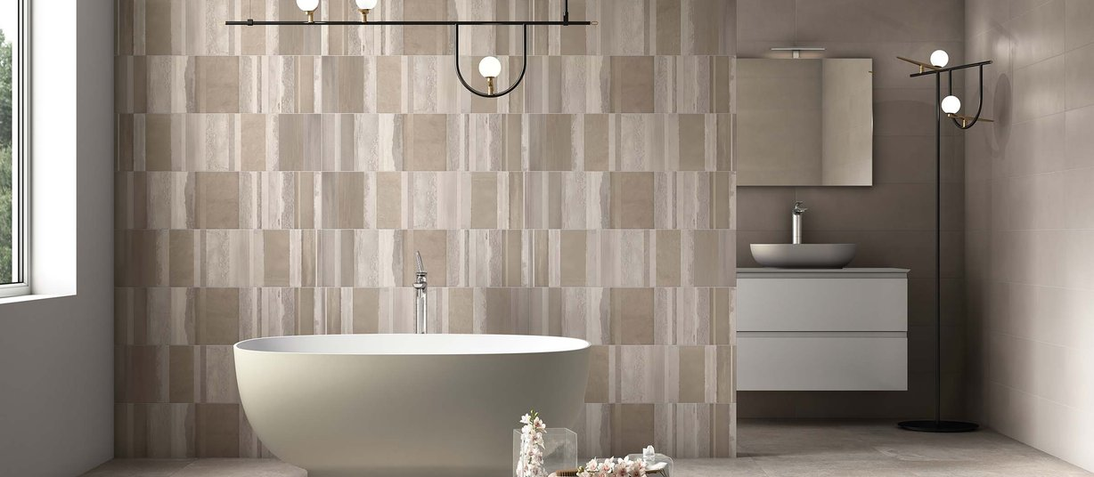 Aquarela Brown and Mix tiles Modern style Bathroom