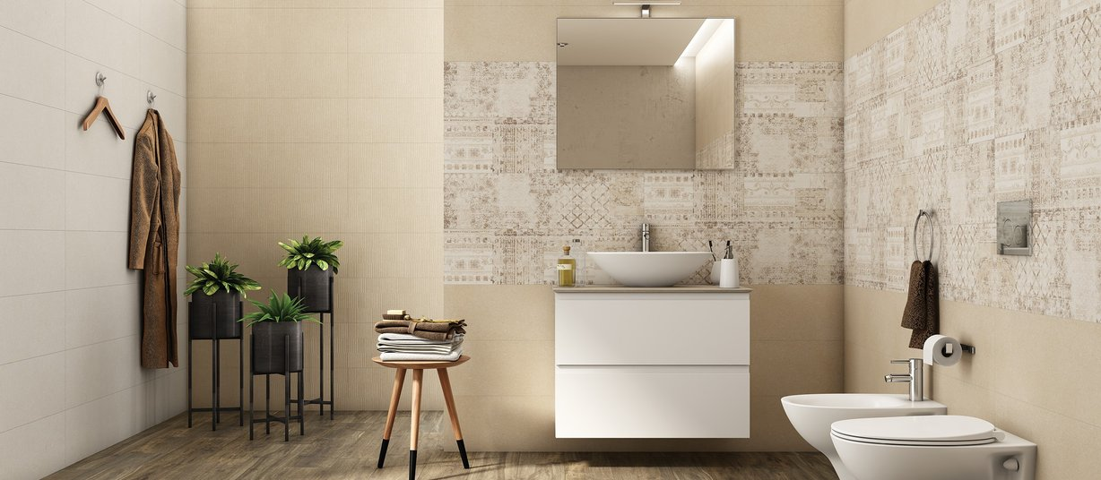 arpege Beige tiles Modern style Bathroom