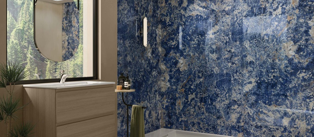 bahia Blue tiles Modern style Bathroom