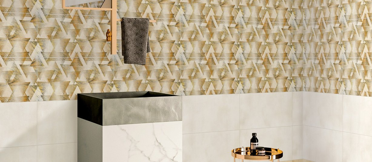 barge Beige and White tiles Modern style Bathroom