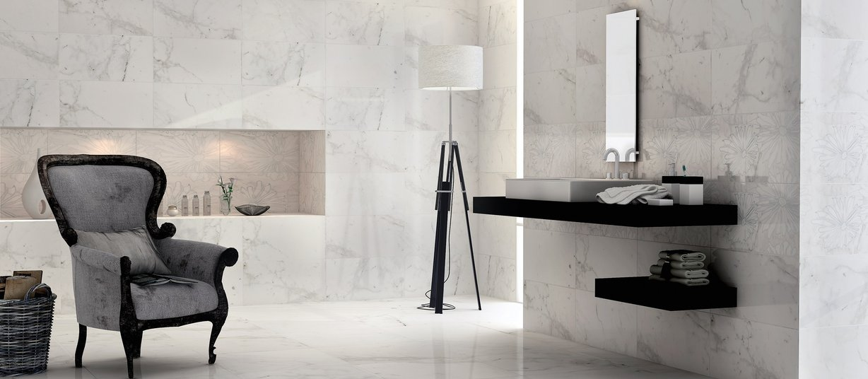 bianco White tiles Modern style Bathroom