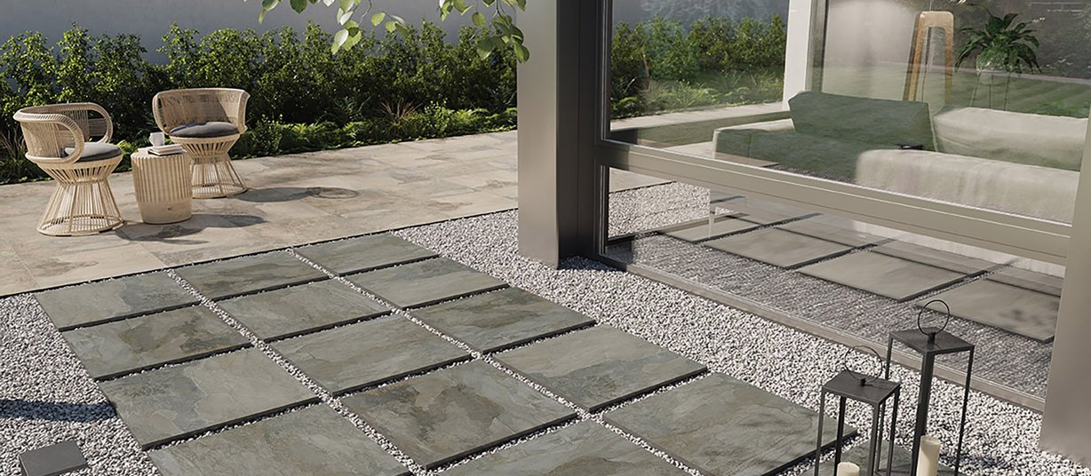 Bryce Anthracite tiles Modern style Outdoor