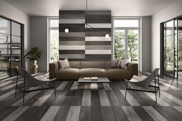 capital wood Grey and White tiles Modern style Living