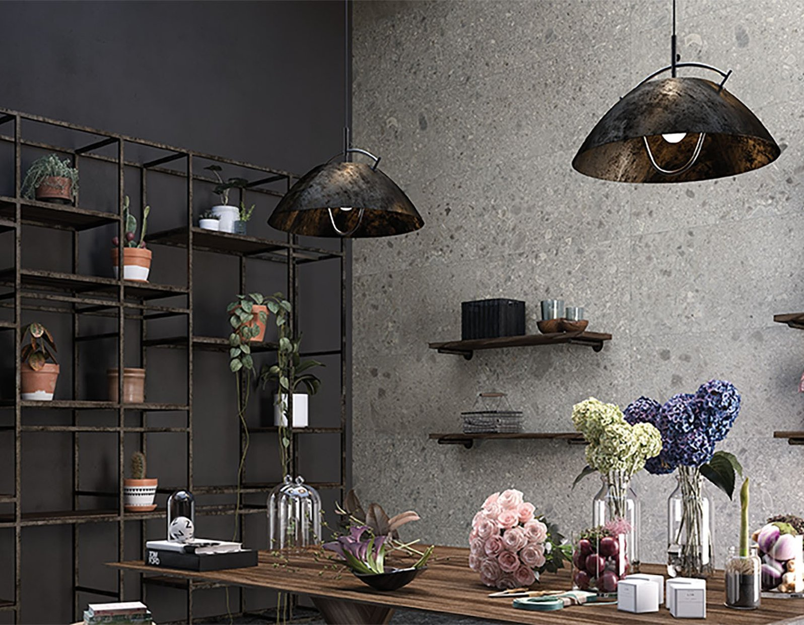 ceppo di gre' stone Black and Grey tiles Modern style Living