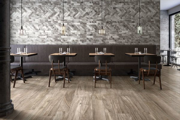 Circle wood Brown and Grey tiles Modern style Light Commercial