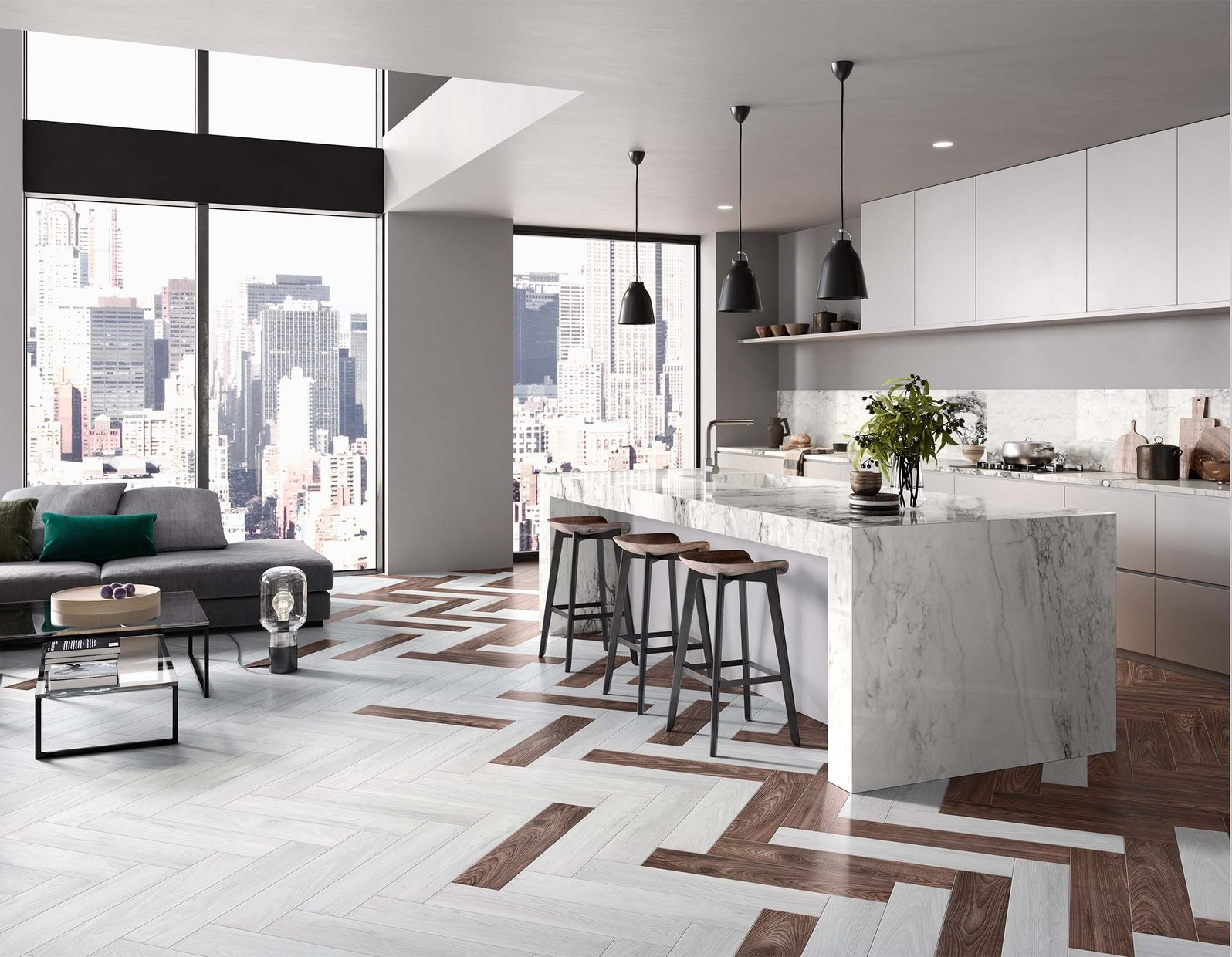 Classic wood Brown and White tiles Modern style Kitchen