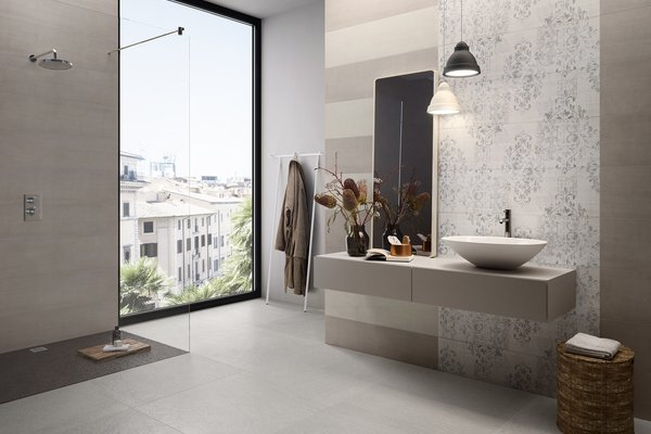 Design concrete White tiles Modern style Bathroom