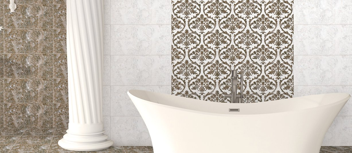 digi pix blossom Brown and White tiles Modern style Bathroom