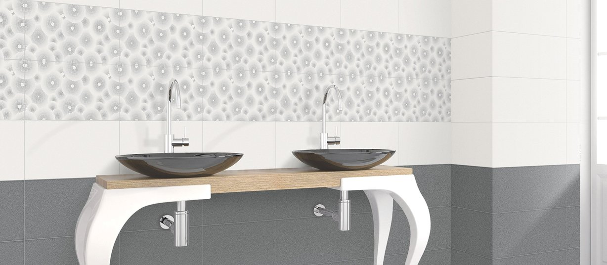 digi pix indus Grey and White tiles Modern style Bathroom