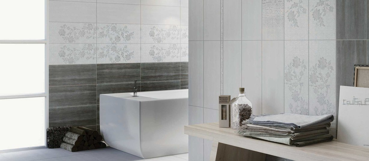 dolomite Grey and White tiles Modern style Bathroom