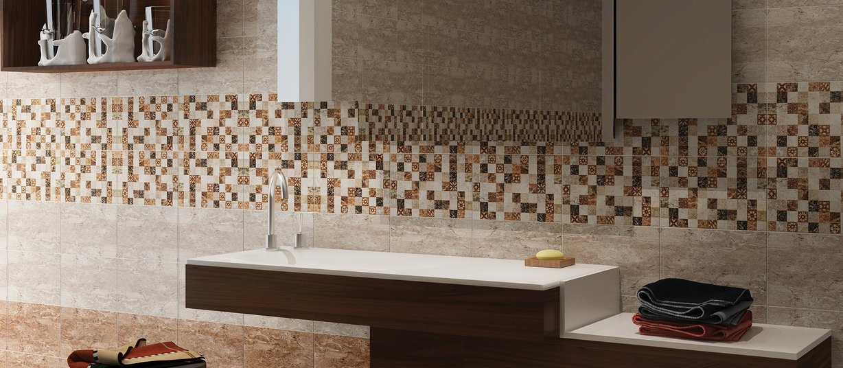 enrica Brown and Ivory tiles Modern style Bathroom