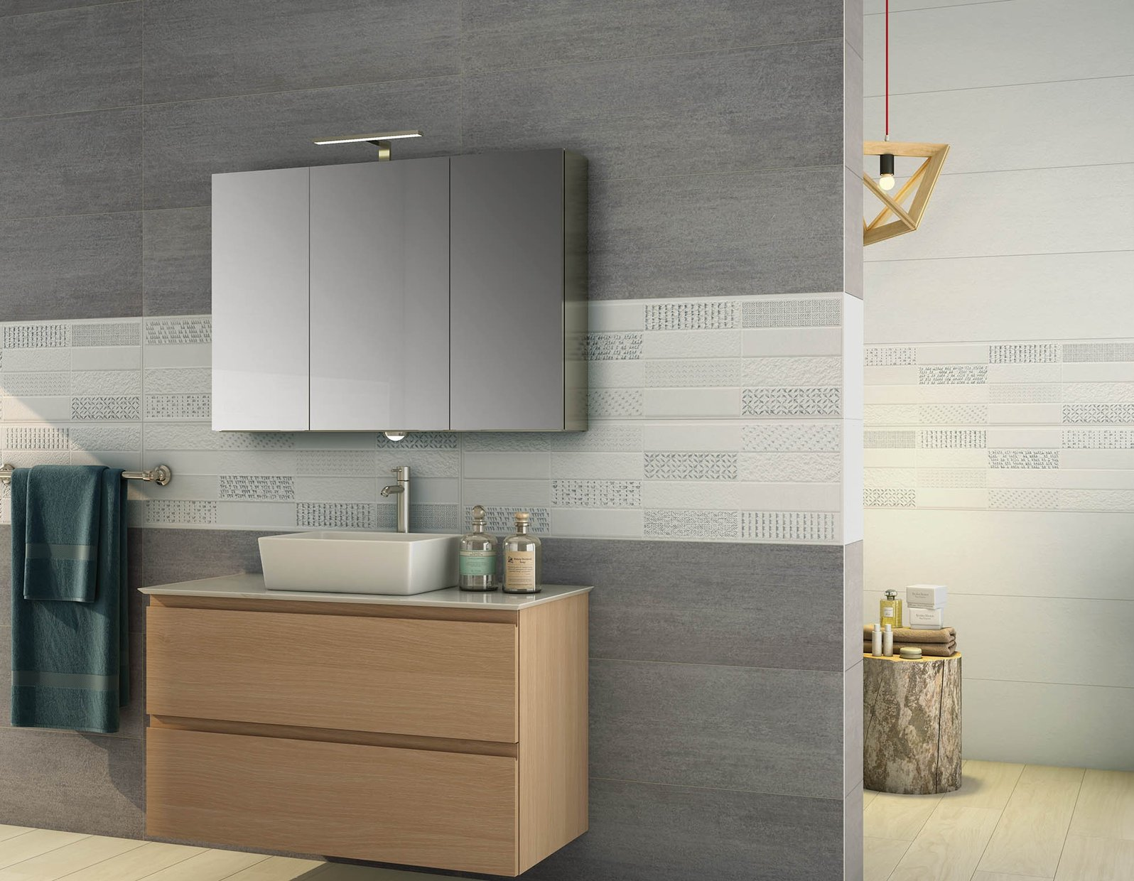 ensemble Grey, Mix and White tiles Modern style Bathroom