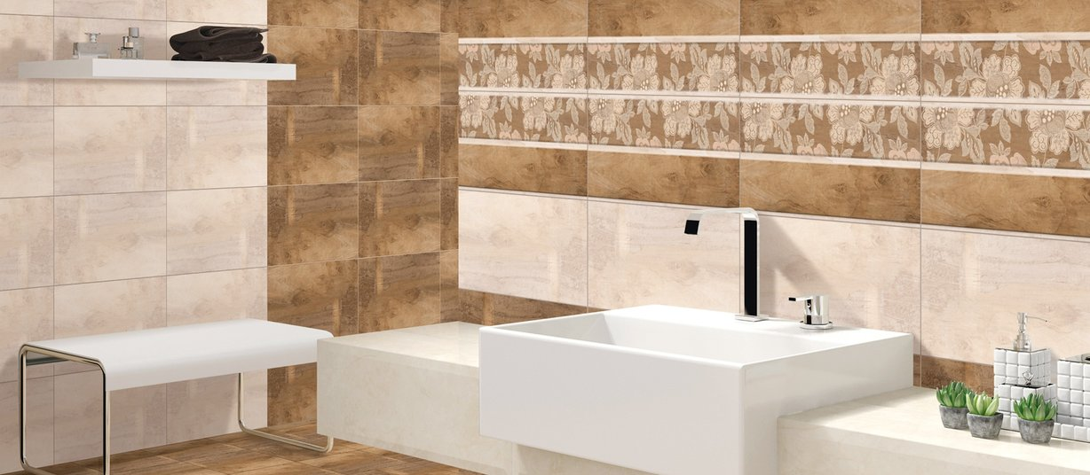 eros Brown and Mix tiles Modern style Bathroom