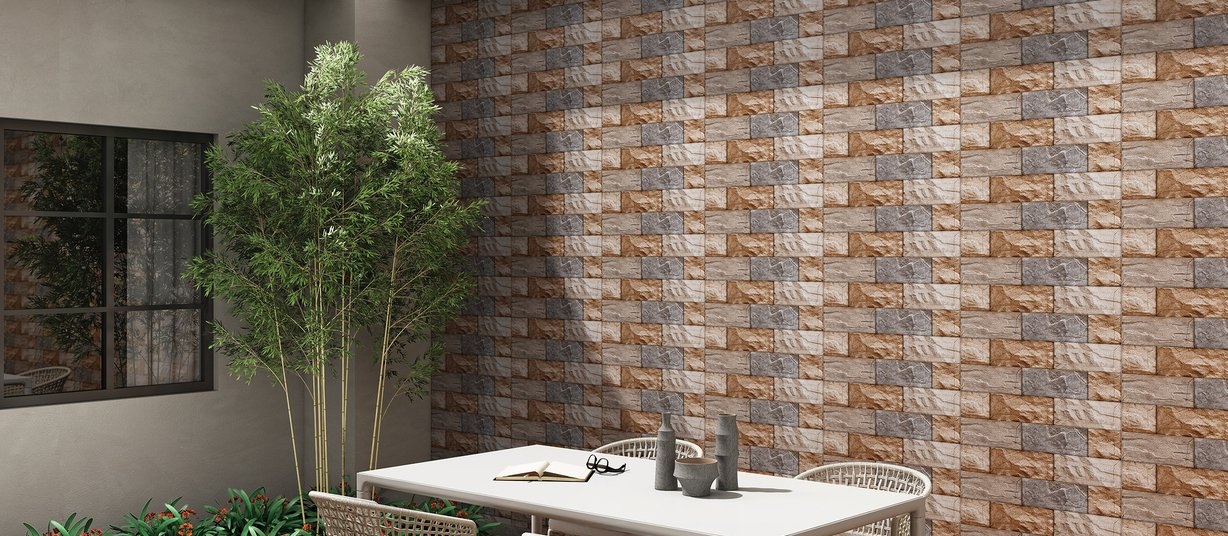 ferro Beige and Yellow tiles Modern style Living