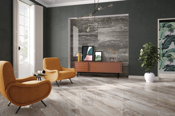 glam marble Brown and Grey tiles Modern style Living