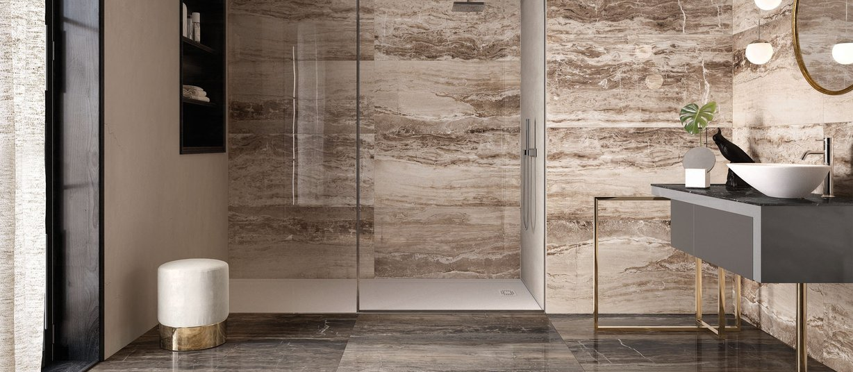 glam marble Brown tiles Modern style Bathroom