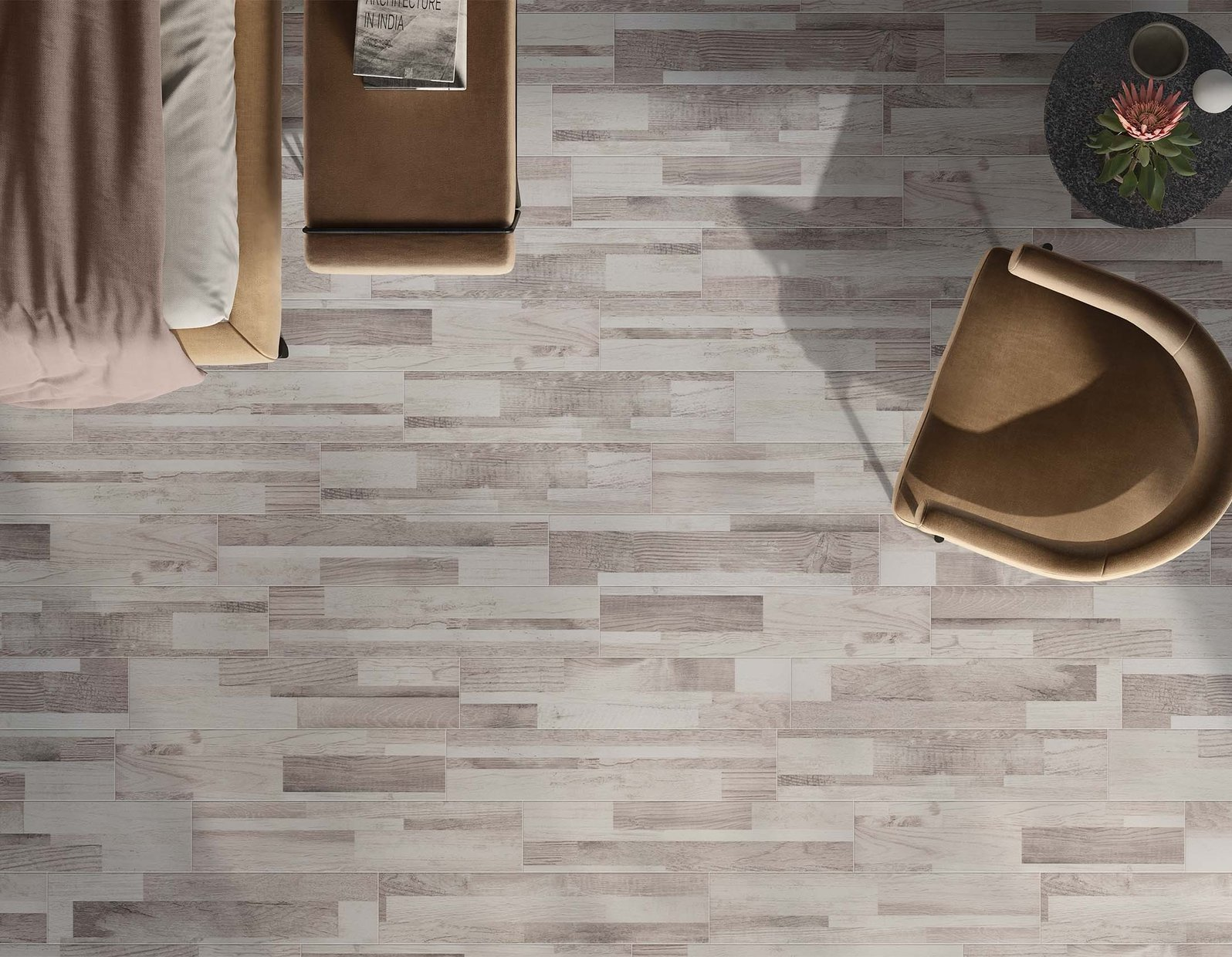 glamour wood Grey and White tiles Modern style Living