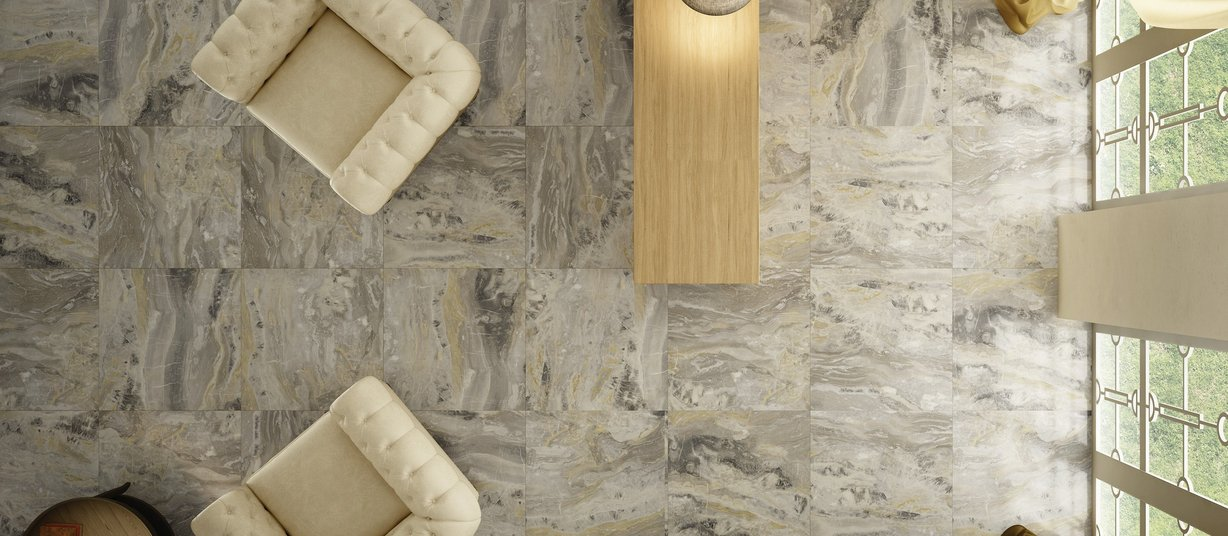 golden marble Beige, Grey and Mix tiles Classic style Living