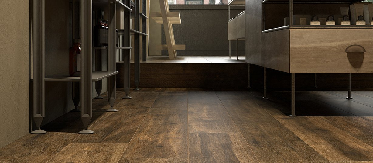 Hard wood Brown tiles Country style Living