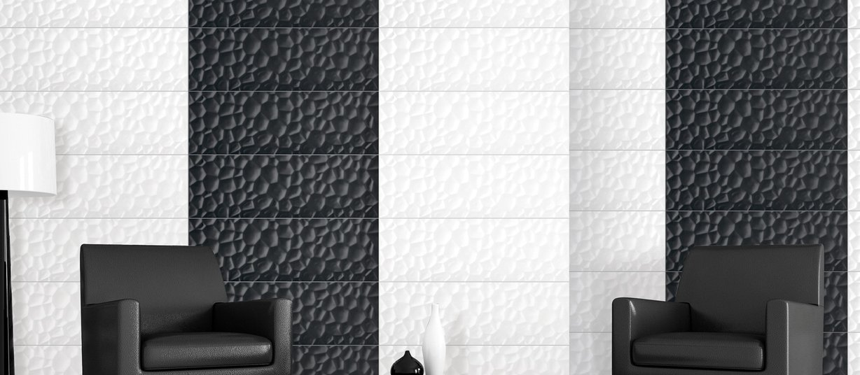 honeycomb Black tiles Modern style Living