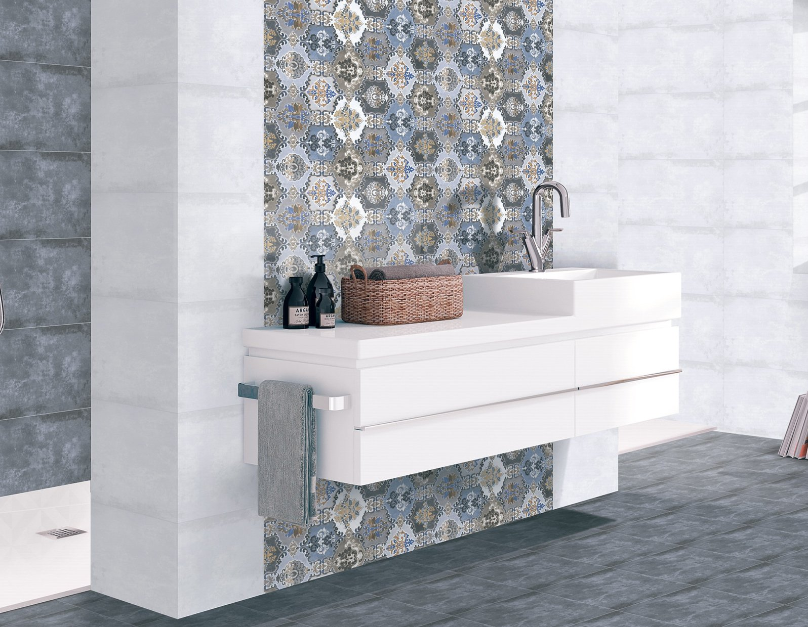indiana Blue and Mix tiles Modern style Bathroom