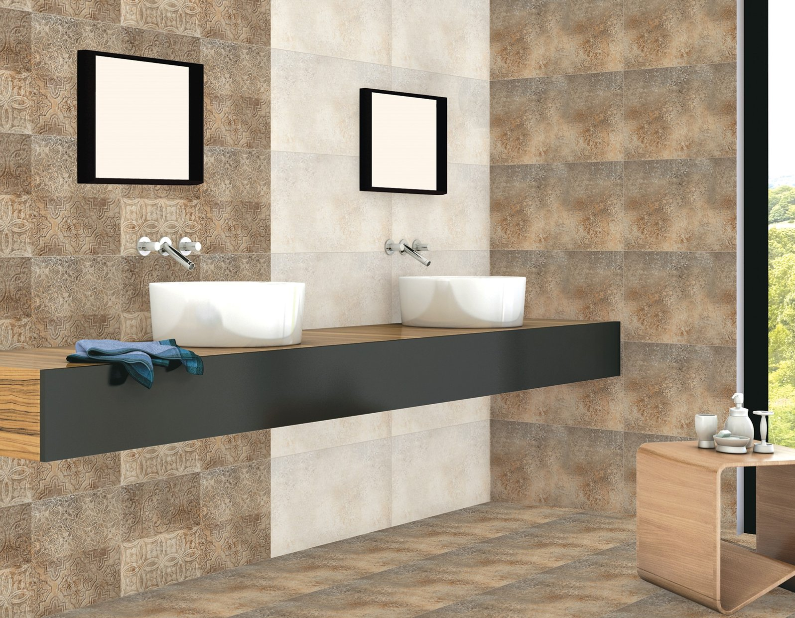 kathmandu Brown tiles Modern style Bathroom