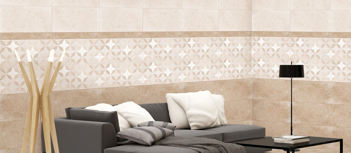 laura Beige and Mix tiles Modern style Living