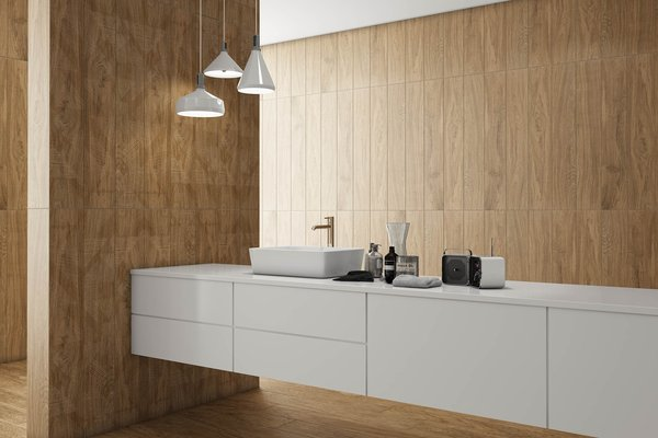 line wood Brown tiles Modern style Bathroom