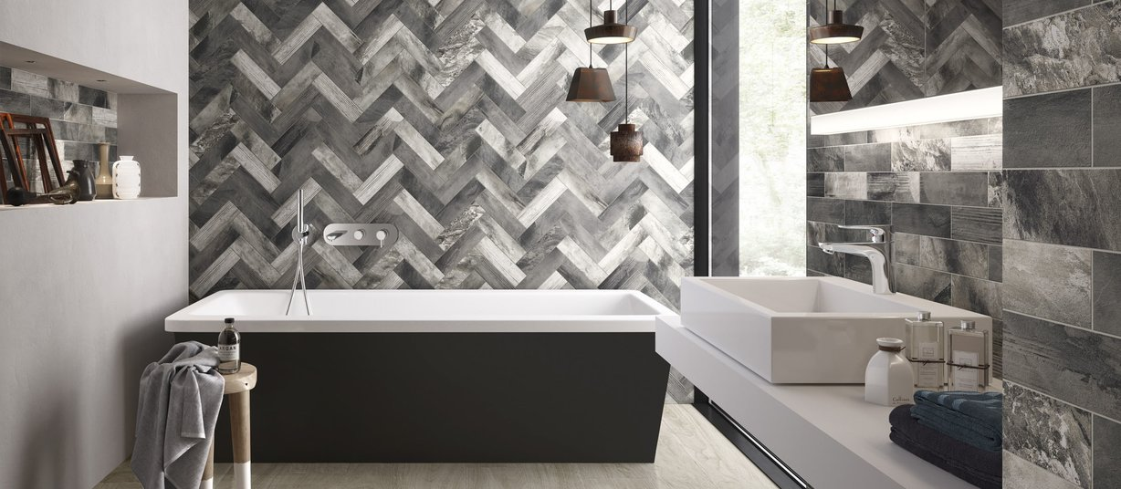 line wood Brown and Grey tiles Modern style