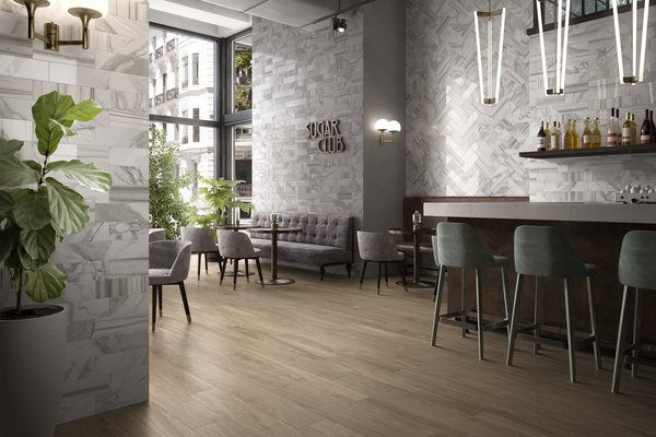 line wood Brown, Grey and White tiles Modern style Light Commercial