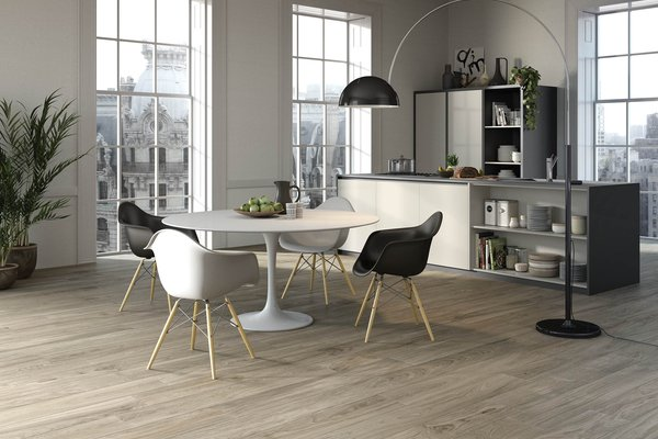 line wood Beige and Ivory tiles Modern style Kitchen