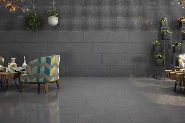 lounge Black and Grey tiles Modern style Living