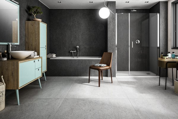 maximus basaltina stone Anthracite, Black, Grey and White tiles Modern style Bathroom