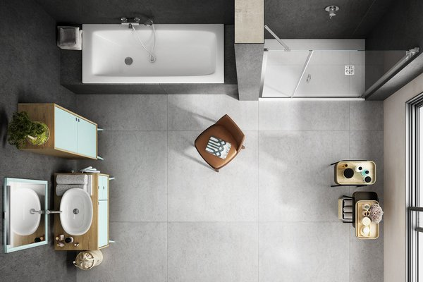 maximus basaltina stone Grey and White tiles Modern style Bathroom