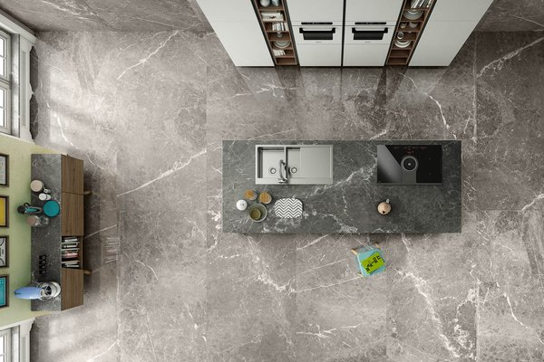 maximus blu del belgio Brown and Grey tiles Modern style Kitchen