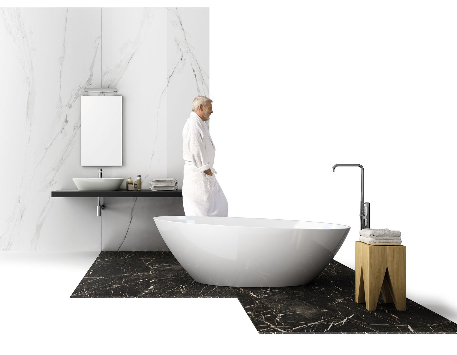 maximus classic Black and White tiles Modern style Bathroom