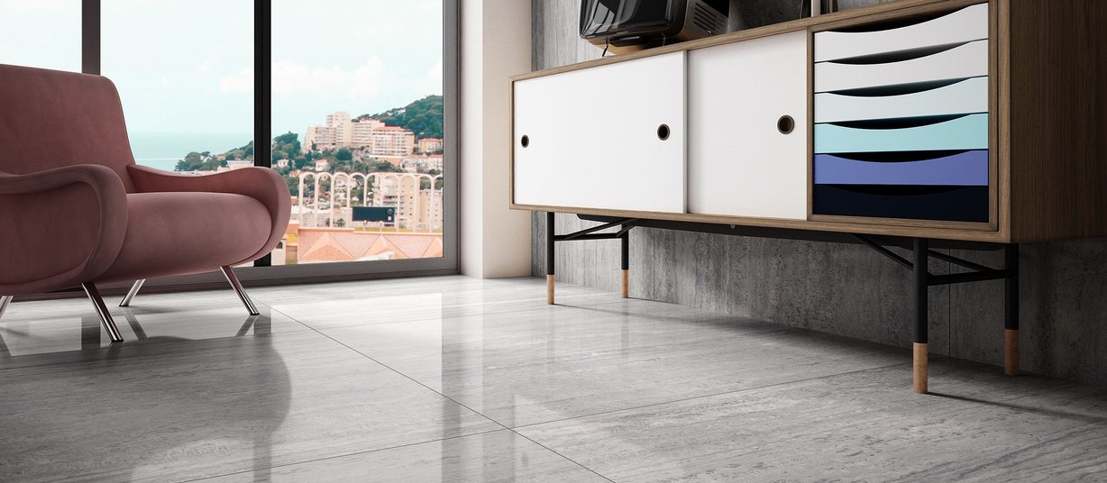 Maximus new travertino Grey tiles Modern style Kitchen