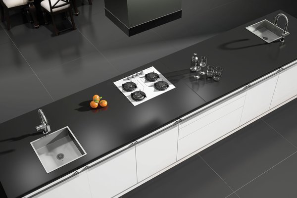 maximus uni Black tiles Modern style Kitchen