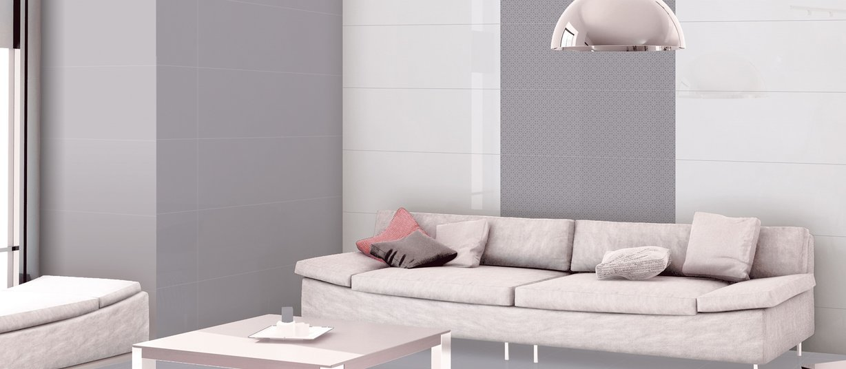 mesa Grey, Mix and White tiles Modern style Living