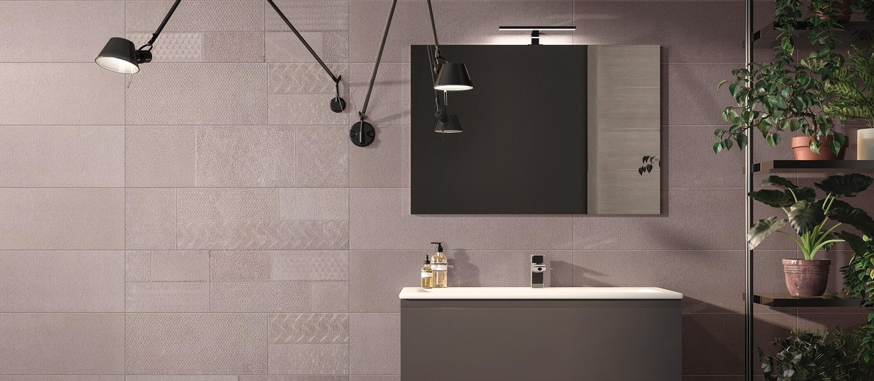 metal mesh Brown tiles Modern style