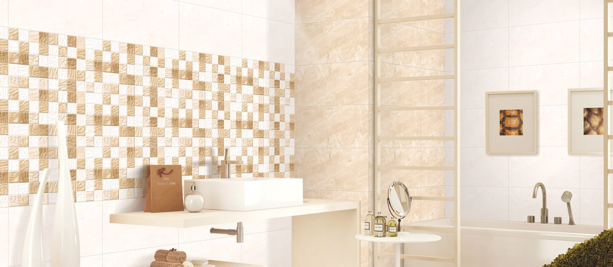 mistral Beige, Mix and White tiles Modern style Bathroom