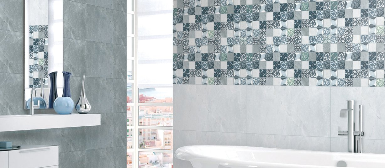 morocco Grey, Mix and White tiles Modern style Bathroom